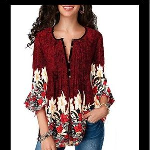 Floral Batwing Casual Blouse